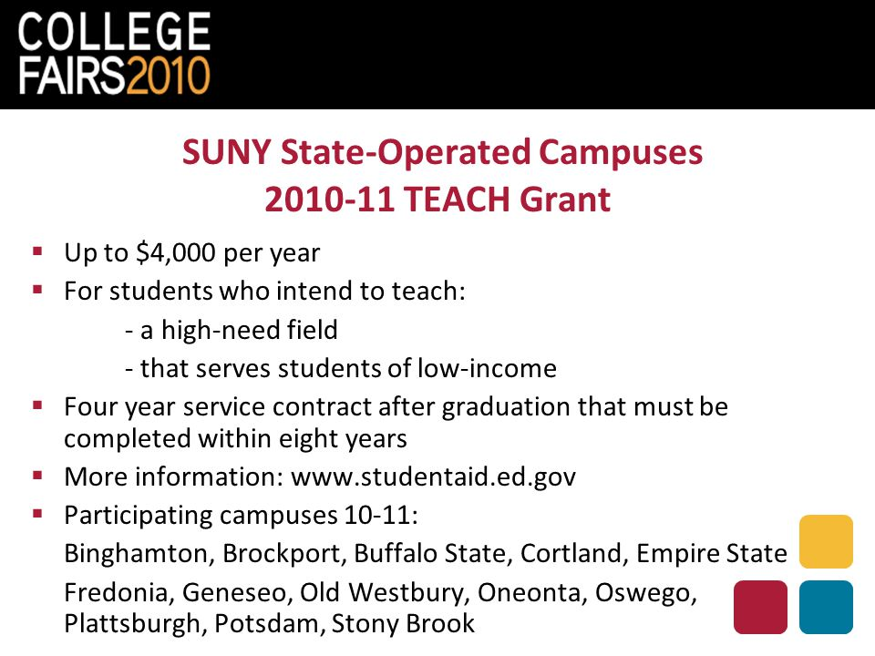 SUNY State-Operated Campuses 2010-11 TEACH Grant  Up to $4,000 per year  For students who intend to teach: - a high-need field - that serves students of low-income  Four year service contract after graduation that must be completed within eight years  More information: www.studentaid.ed.gov  Participating campuses 10-11: Binghamton, Brockport, Buffalo State, Cortland, Empire State Fredonia, Geneseo, Old Westbury, Oneonta, Oswego, Plattsburgh, Potsdam, Stony Brook