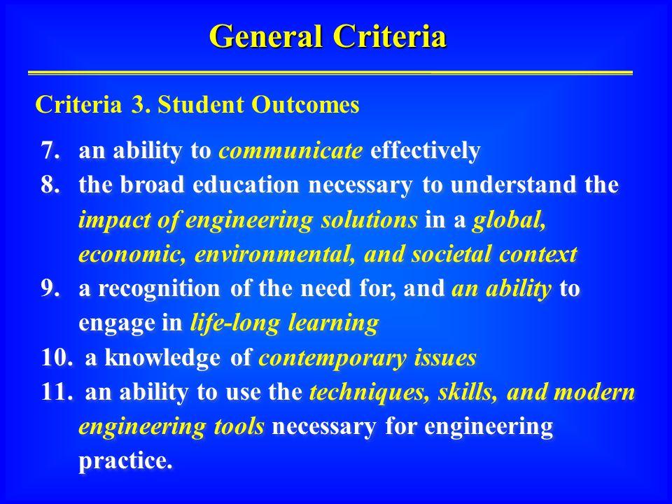 General Criteria Criteria 3.