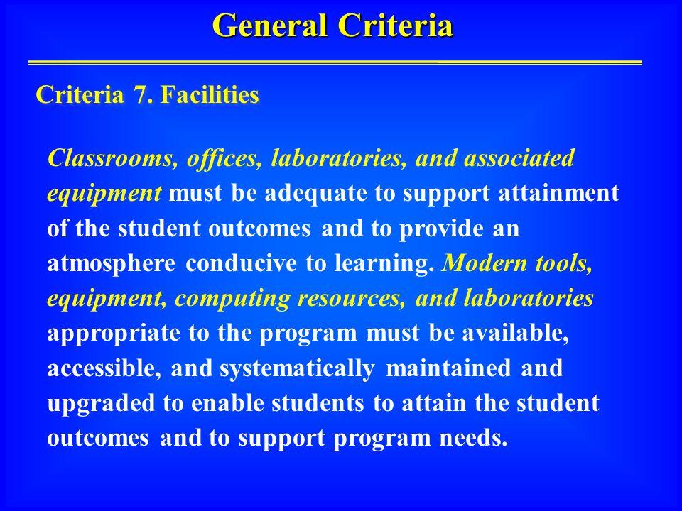 General Criteria Criteria 7.