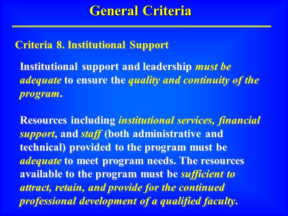 General Criteria Criteria 8.