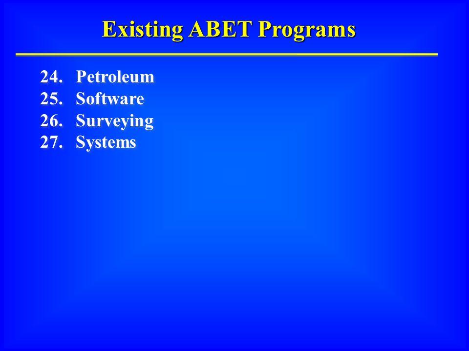Existing ABET Programs 24.Petroleum 25. Software 26.