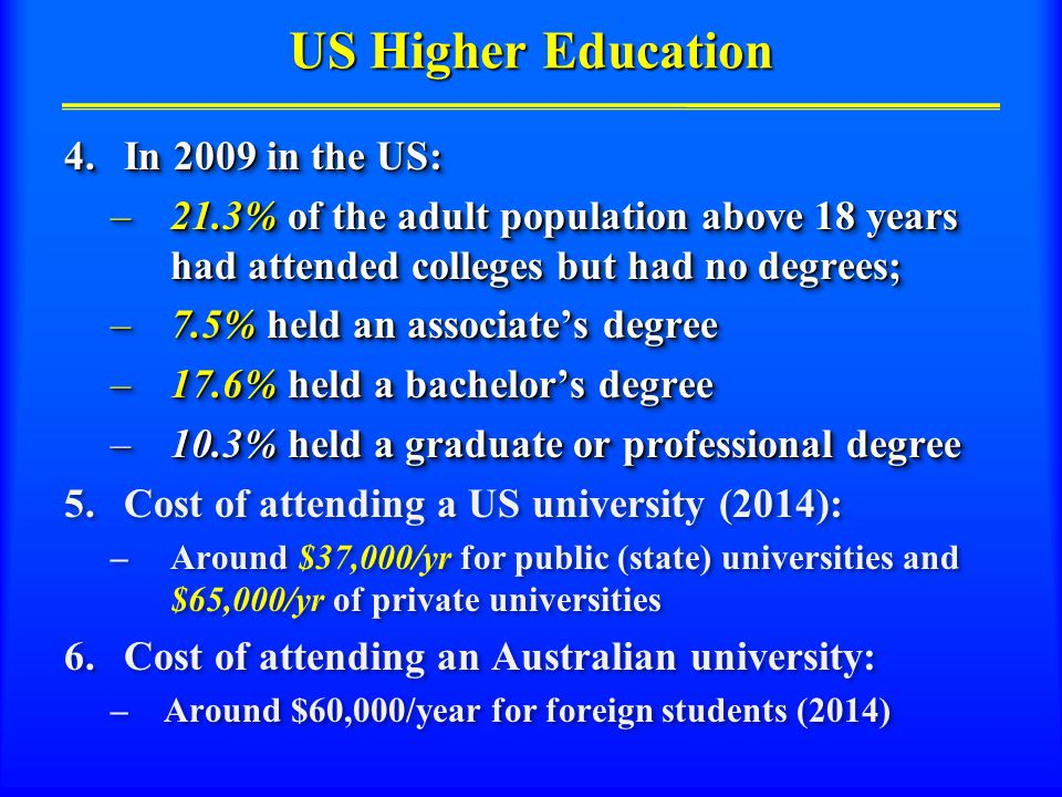US Higher Education 4.In 2009 in the US: –21.3% of the adult population above 18 years had attended colleges but had no degrees; –7.5% held an associate's degree –17.6% held a bachelor's degree –10.3% held a graduate or professional degree 5.Cost of attending a US university (2014): –Around $37,000/yr for public (state) universities and $65,000/yr of private universities 6.Cost of attending an Australian university: – Around $60,000/year for foreign students (2014) 4.In 2009 in the US: –21.3% of the adult population above 18 years had attended colleges but had no degrees; –7.5% held an associate's degree –17.6% held a bachelor's degree –10.3% held a graduate or professional degree 5.Cost of attending a US university (2014): –Around $37,000/yr for public (state) universities and $65,000/yr of private universities 6.Cost of attending an Australian university: – Around $60,000/year for foreign students (2014)