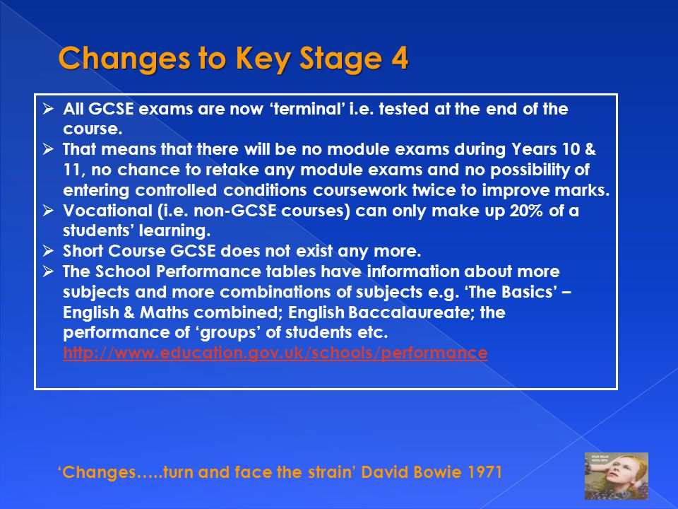 'Changes…..turn and face the strain' David Bowie 1971 Changes to Key Stage 4  All GCSE exams are now 'terminal' i.e. tested at the end of the course.