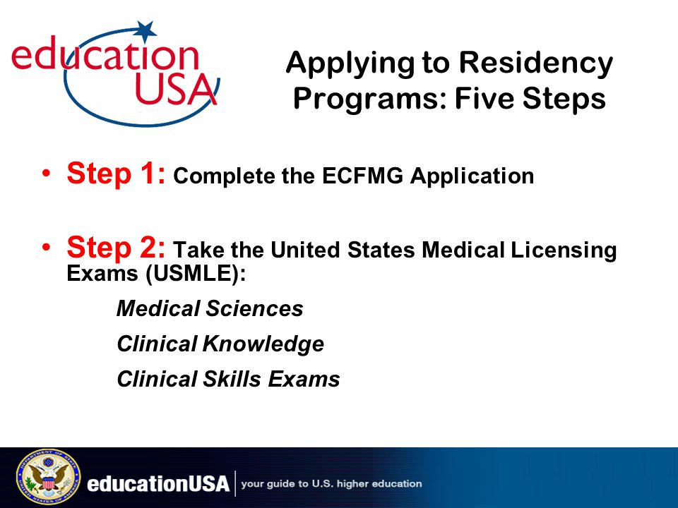 Applying to Residency Programs: Five Steps Step 1: Complete the ECFMG Application Step 2: Take the United States Medical Licensing Exams (USMLE): Medical Sciences Clinical Knowledge Clinical Skills Exams
