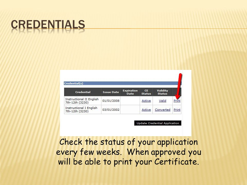 Check the status of your application every few weeks. When approved you will be able to print your Certificate.