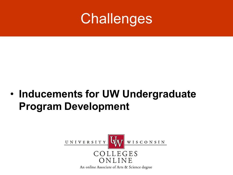 Challenges Inducements for UW Undergraduate Program Development