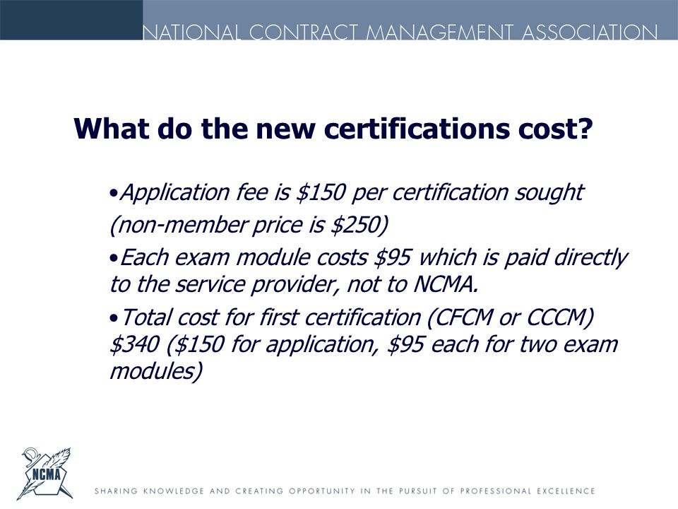 What do the new certifications cost.