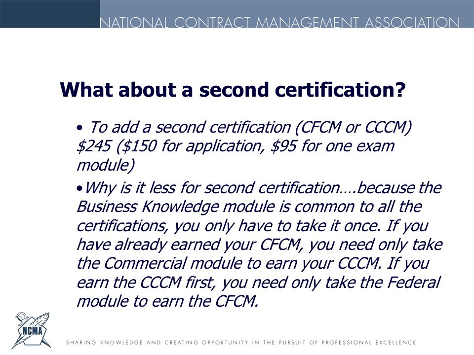 What about a second certification.