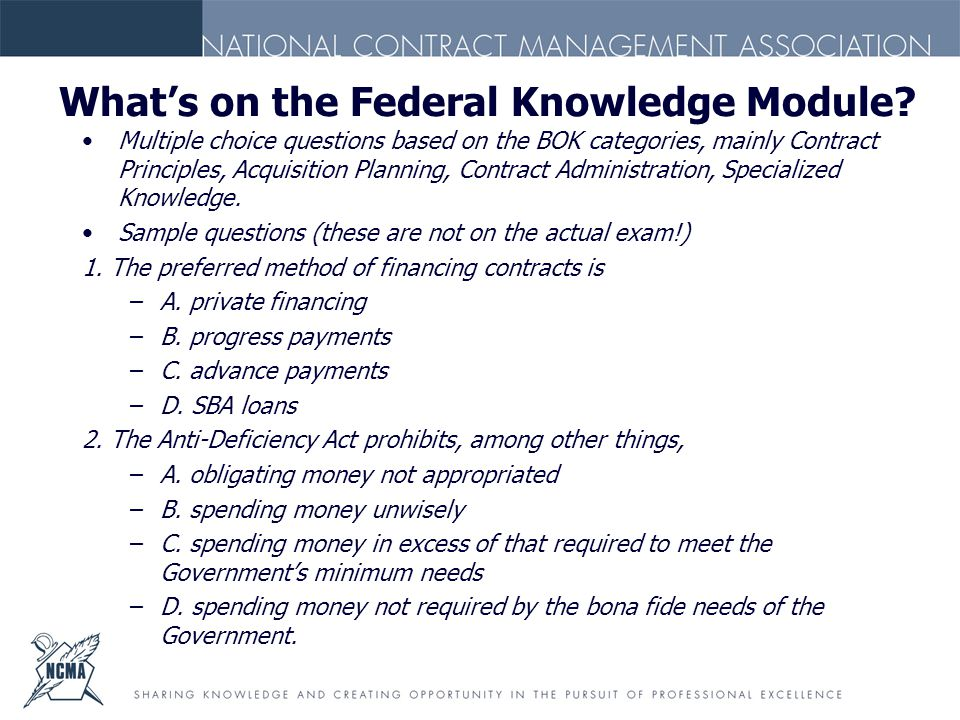 What's on the Federal Knowledge Module.