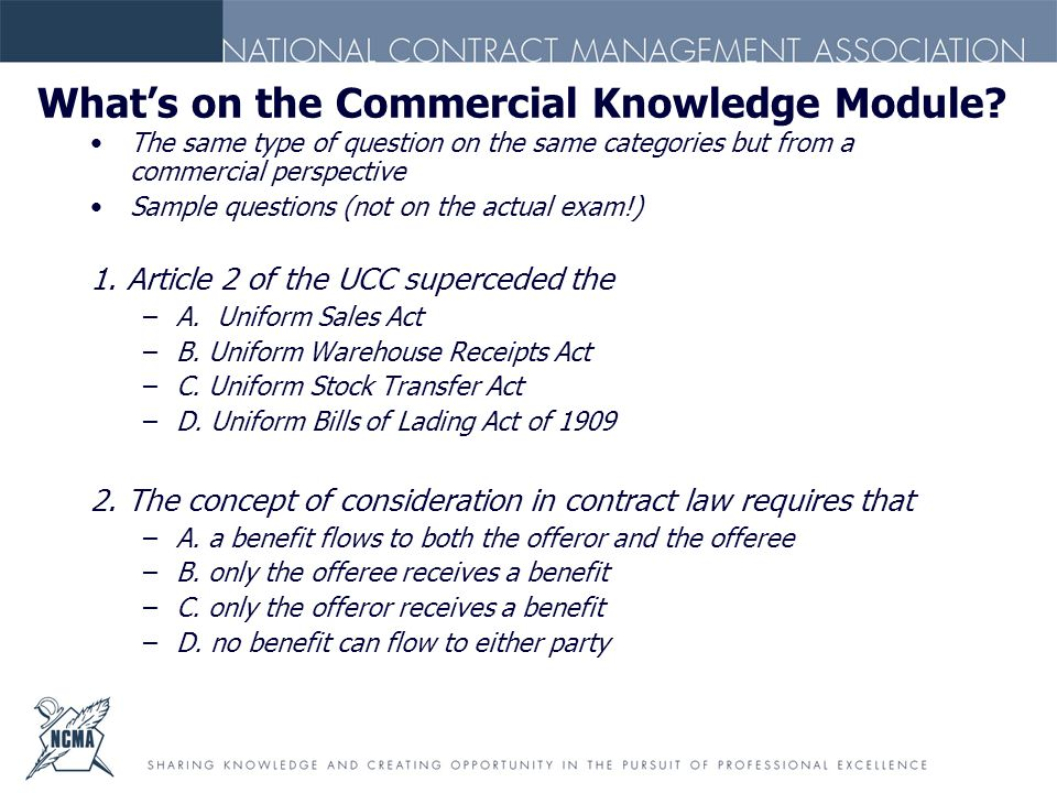 What's on the Commercial Knowledge Module.