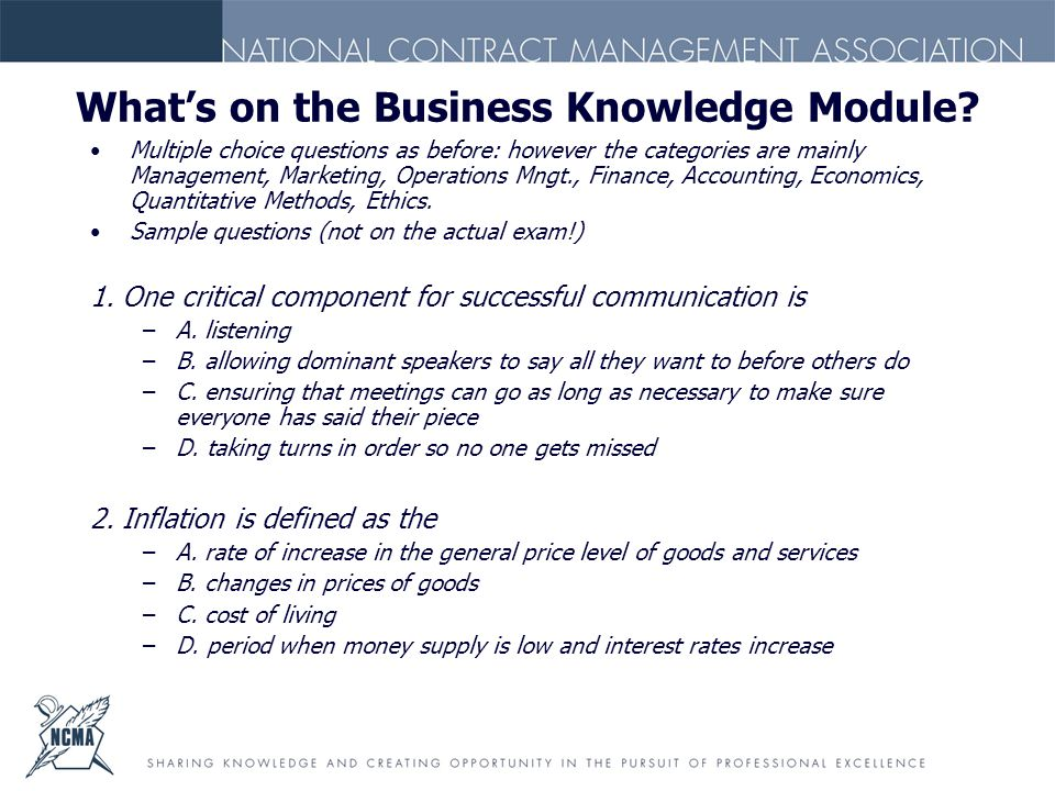 What's on the Business Knowledge Module.