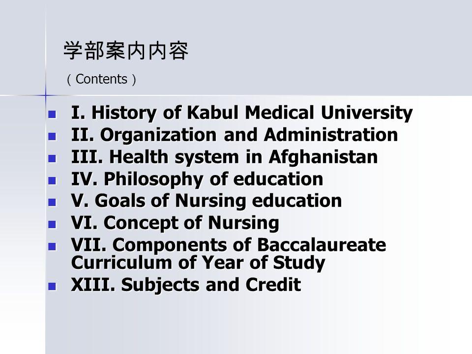 I.History of Kabul Medical University I. History of Kabul Medical University II.