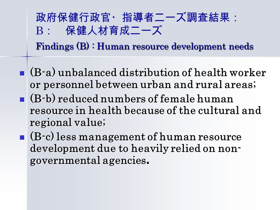 Findings (B) : Human resource development needs 政府保健行政官・指導者ニーズ調査結果: B : 保健人材育成ニーズ Findings (B) : Human resource development needs (B-a) unbalanced distribution of health worker or personnel between urban and rural areas; (B-a) unbalanced distribution of health worker or personnel between urban and rural areas; (B-b) reduced numbers of female human resource in health because of the cultural and regional value; (B-b) reduced numbers of female human resource in health because of the cultural and regional value; (B-c) less management of human resource development due to heavily relied on non- governmental agencies.