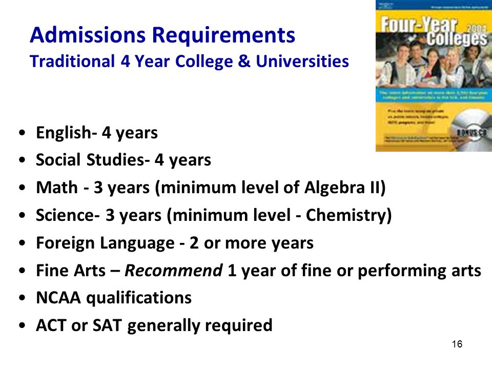 17 English- 4 years Social Studies- 4 years Math- 4 years Science- 4 years Foreign Language - 3 years or more Fine Arts - one year of fine or performing arts Honors and Advanced Placement classes upon recommendation Prefer 70th percentile and higher ACT or SAT generally required – possibly SAT Subject Tests Admissions Requirements: Selective Colleges & Universities