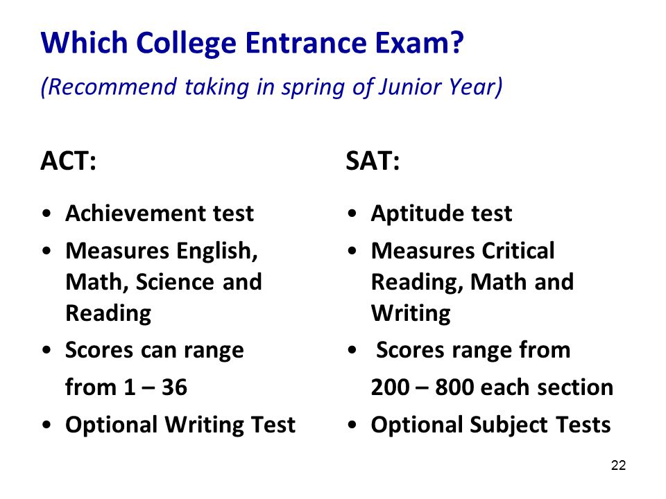 23 ACT/SAT Dates of interest to Current Juniors for Spring and Fall of 2011 ACT: April 9 (3/18 late deadline w/fee) June 11 September 10 October 22 December 10 SAT: March 12 (standby only) May 7 June 4 October November