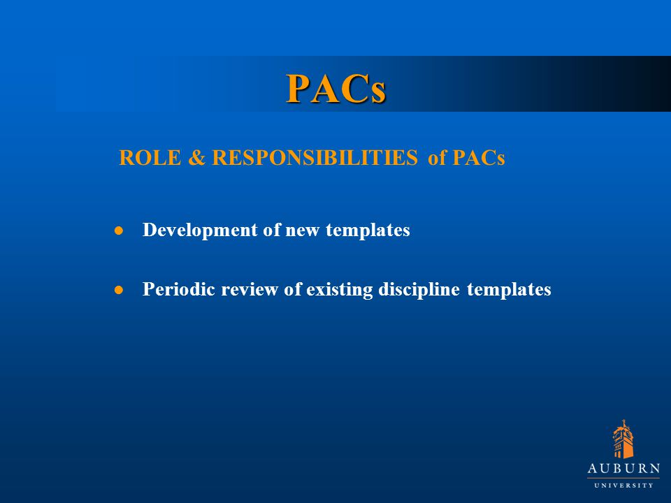 PACs Development of new templates Periodic review of existing discipline templates ROLE & RESPONSIBILITIES of PACs
