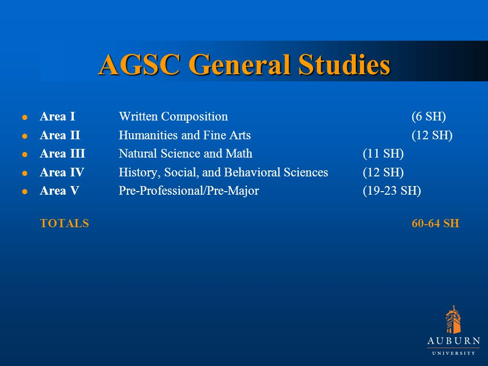 AGSC General Studies Area IWritten Composition (6 SH) Area II Humanities and Fine Arts(12 SH) Area IIINatural Science and Math(11 SH) Area IVHistory, Social, and Behavioral Sciences (12 SH) Area VPre-Professional/Pre-Major(19-23 SH) TOTALS SH