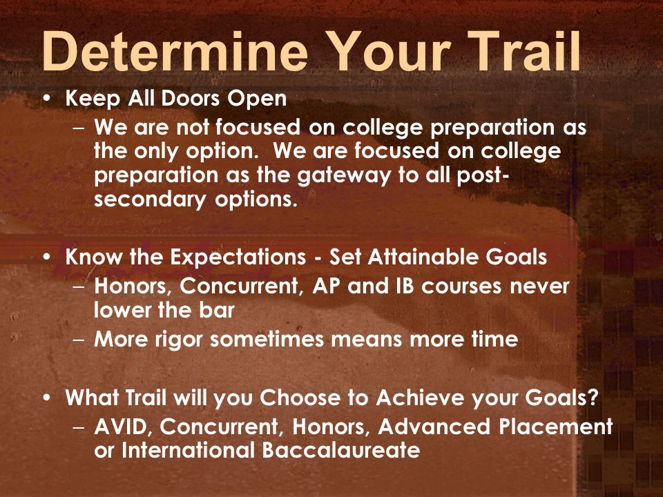 Determine Your Trail Keep All Doors Open – We are not focused on college preparation as the only option.