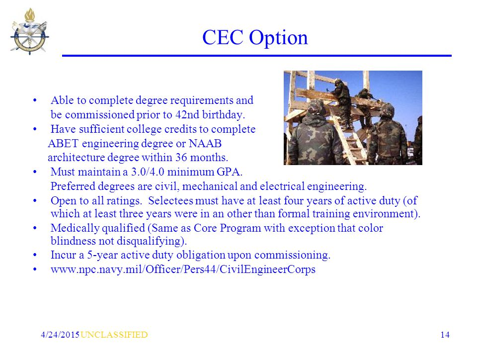 UNCLASSIFIED4/24/2015 14 CEC Option Able to complete degree requirements and be commissioned prior to 42nd birthday.