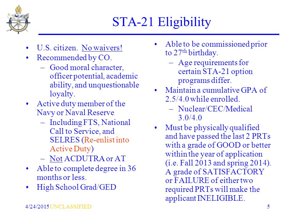 UNCLASSIFIED4/24/20155 STA-21 Eligibility U.S. citizen.