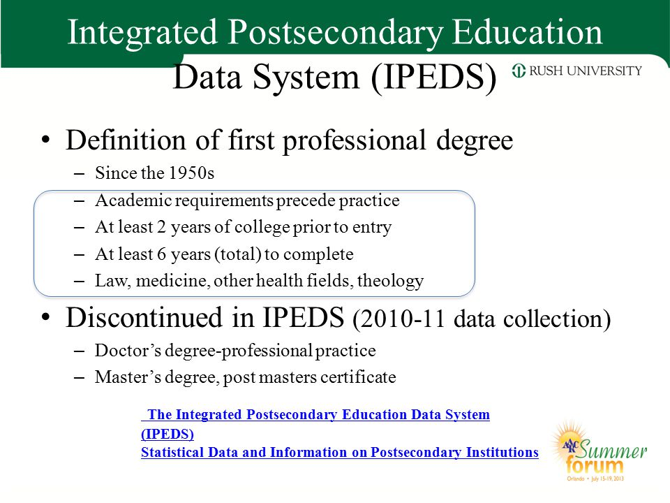 Integrated Postsecondary Education Data System (IPEDS) Definition of first professional degree – Since the 1950s – Academic requirements precede pract