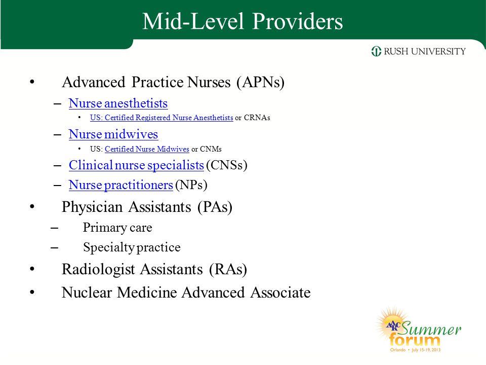 Mid-Level Providers Advanced Practice Nurses (APNs) – Nurse anesthetists Nurse anesthetists US: Certified Registered Nurse Anesthetists or CRNAs US: C