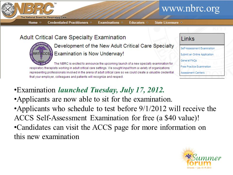 Examination launched Tuesday, July 17, 2012. Applicants are now able to sit for the examination. Applicants who schedule to test before 9/1/2012 will