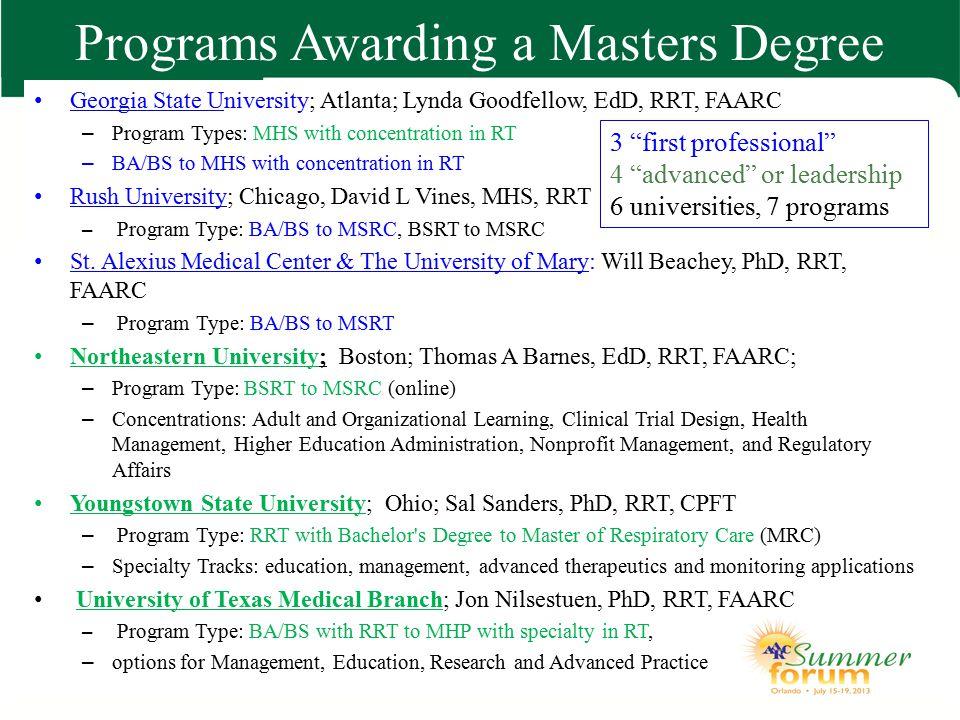 Programs Awarding a Masters Degree Georgia State University; Atlanta; Lynda Goodfellow, EdD, RRT, FAARC – Program Types: MHS with concentration in RT