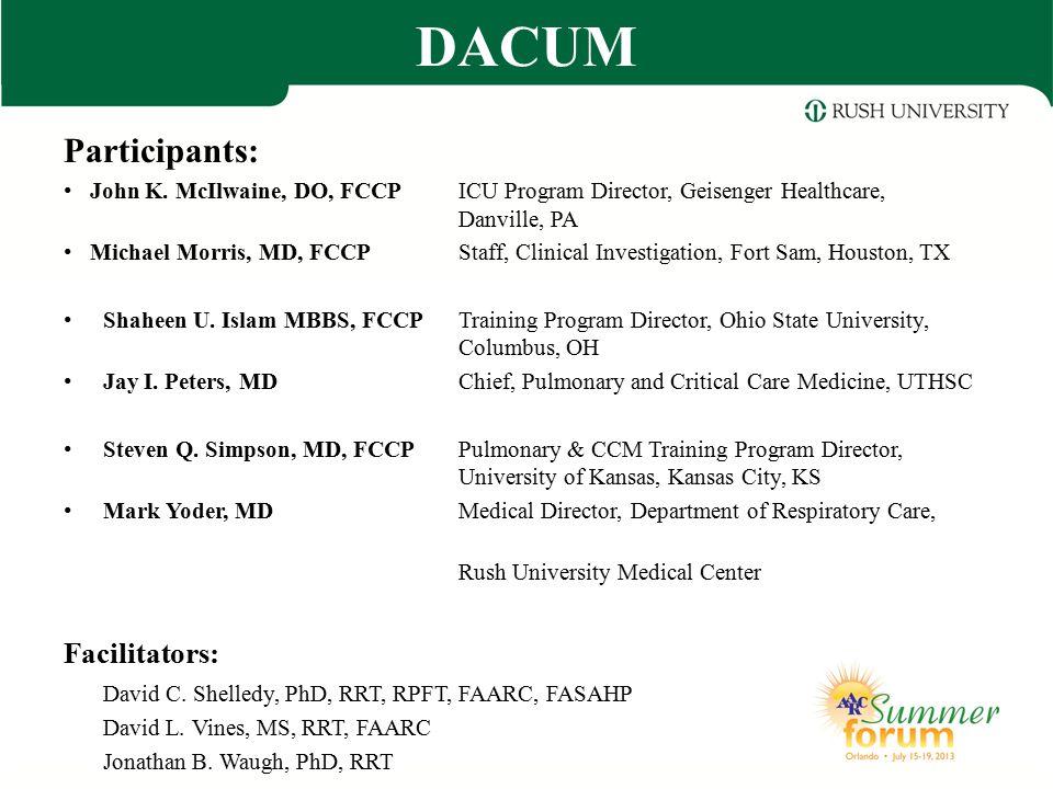 Participants: John K. McIlwaine, DO, FCCPICU Program Director, Geisenger Healthcare, Danville, PA Michael Morris, MD, FCCPStaff, Clinical Investigatio