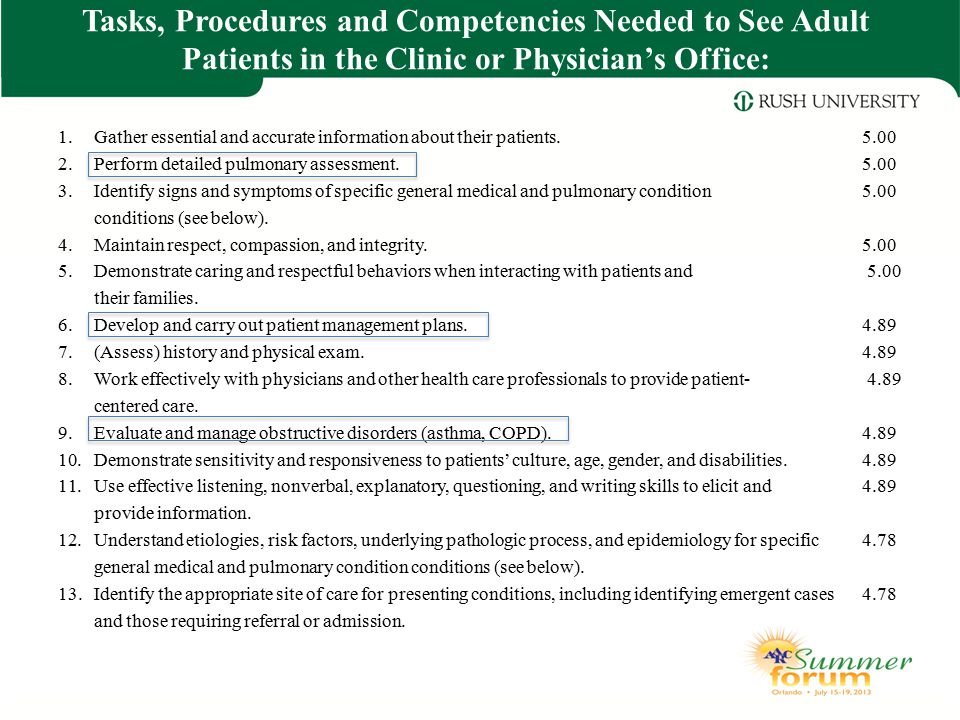 Tasks, Procedures and Competencies Needed to See Adult Patients in the Clinic or Physician's Office: 1.Gather essential and accurate information about