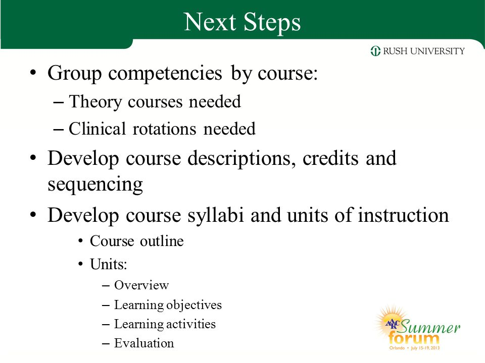 Next Steps Group competencies by course: – Theory courses needed – Clinical rotations needed Develop course descriptions, credits and sequencing Devel