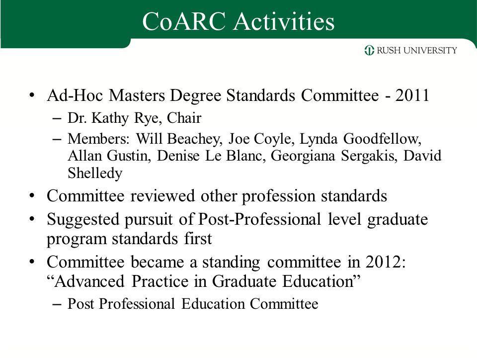 CoARC Activities Ad-Hoc Masters Degree Standards Committee - 2011 – Dr. Kathy Rye, Chair – Members: Will Beachey, Joe Coyle, Lynda Goodfellow, Allan G