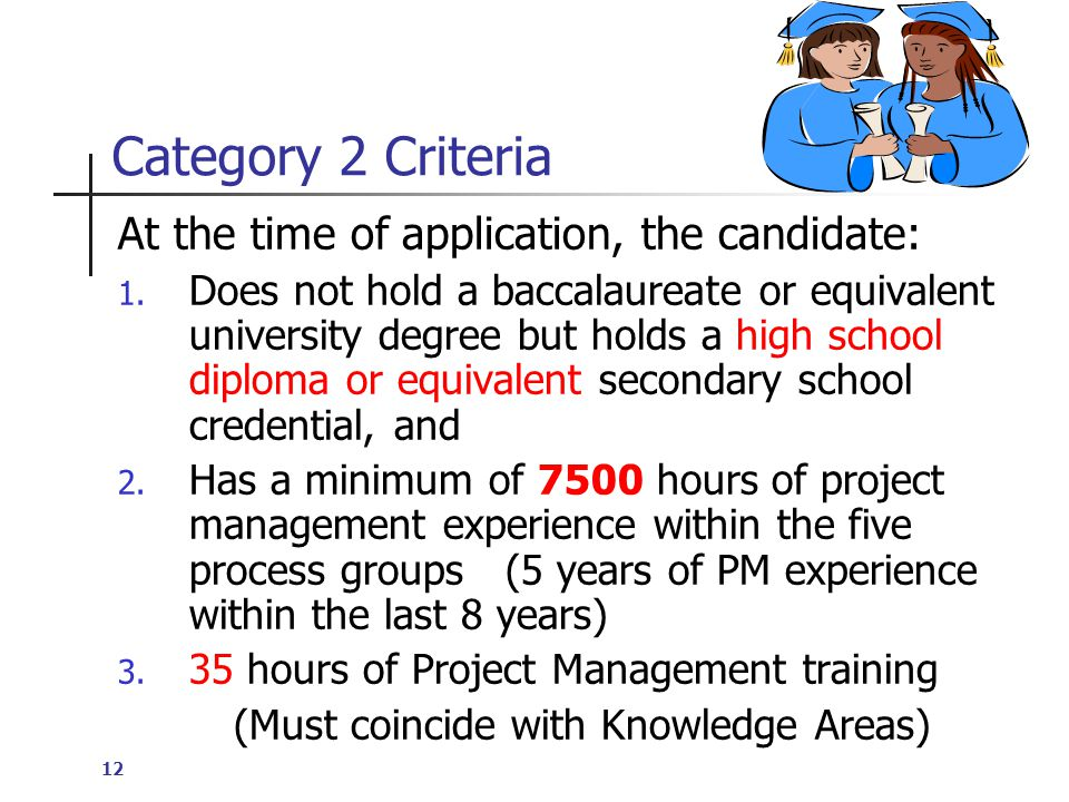 12 Category 2 Criteria At the time of application, the candidate: 1.