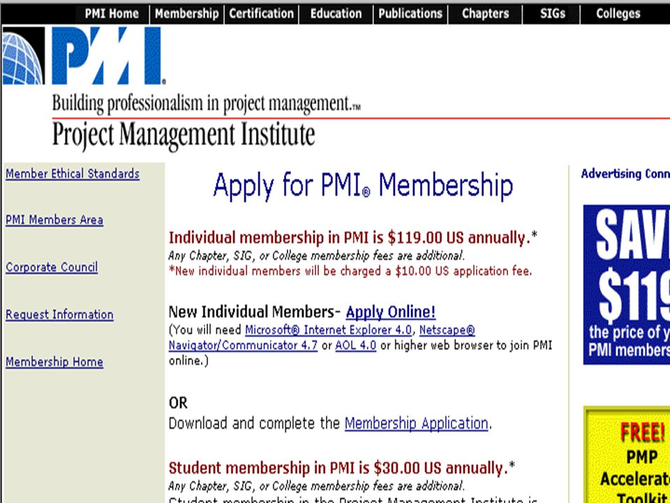 23 PMI Membership Application Page