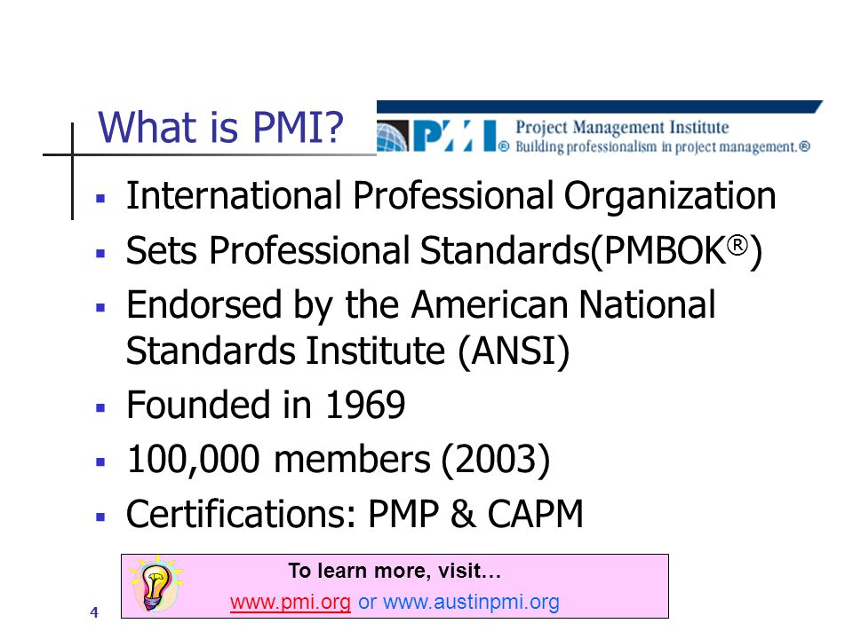 4 What is PMI.