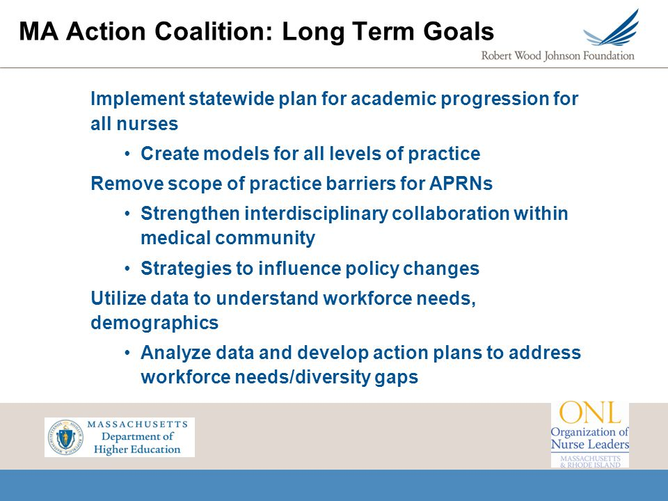 MA Action Coalition: Long Term Goals Implement statewide plan for academic progression for all nurses Create models for all levels of practice Remove