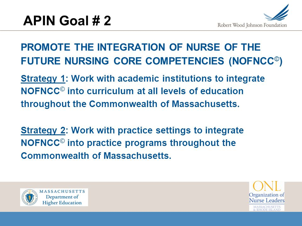 APIN Goal # 2 PROMOTE THE INTEGRATION OF NURSE OF THE FUTURE NURSING CORE COMPETENCIES (NOFNCC © ) Strategy 1: Work with academic institutions to inte