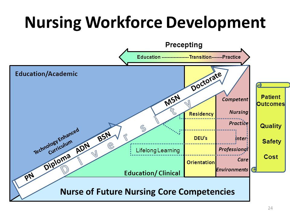 Nursing Workforce Development Patient Outcomes Quality Safety Cost Nurse of Future Nursing Core Competencies Education/ Clinical Orientation DEU's Res