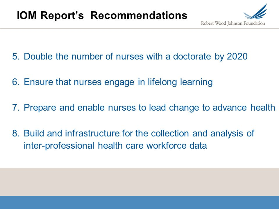 IOM Report's Recommendations 5.Double the number of nurses with a doctorate by 2020 6.Ensure that nurses engage in lifelong learning 7.Prepare and ena