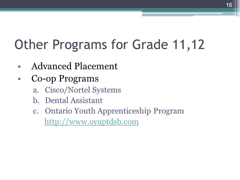 16 Other Programs for Grade 11,12 Advanced Placement Co-op Programs a.Cisco/Nortel Systems b.Dental Assistant c.Ontario Youth Apprenticeship Program http://www.oyaptdsb.com