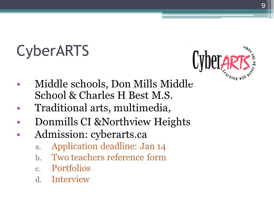 9 CyberARTS Middle schools, Don Mills Middle School & Charles H Best M.S.