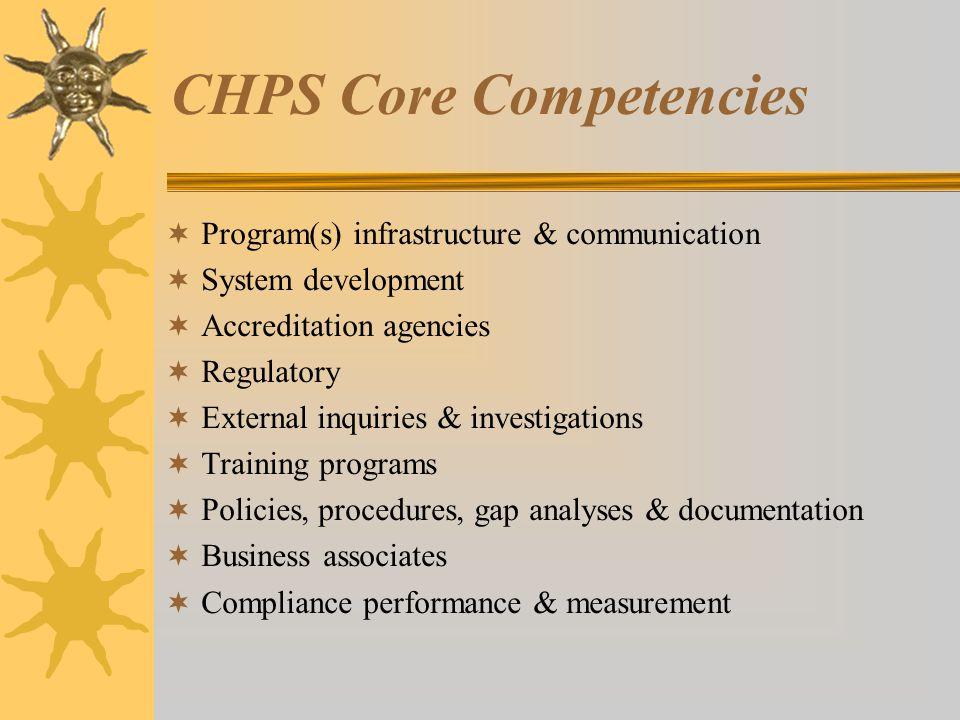 CHPS Core Competencies  Program(s) infrastructure & communication  System development  Accreditation agencies  Regulatory  External inquiries & investigations  Training programs  Policies, procedures, gap analyses & documentation  Business associates  Compliance performance & measurement