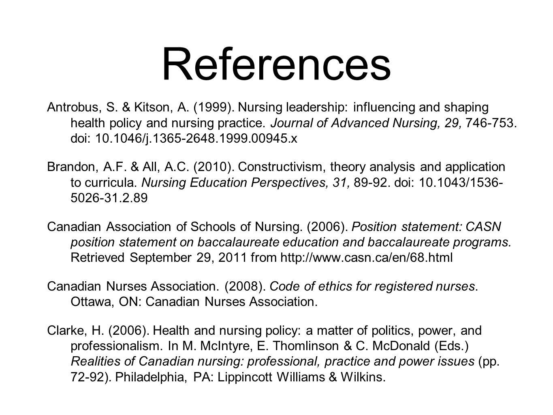 References Antrobus, S. & Kitson, A. (1999).