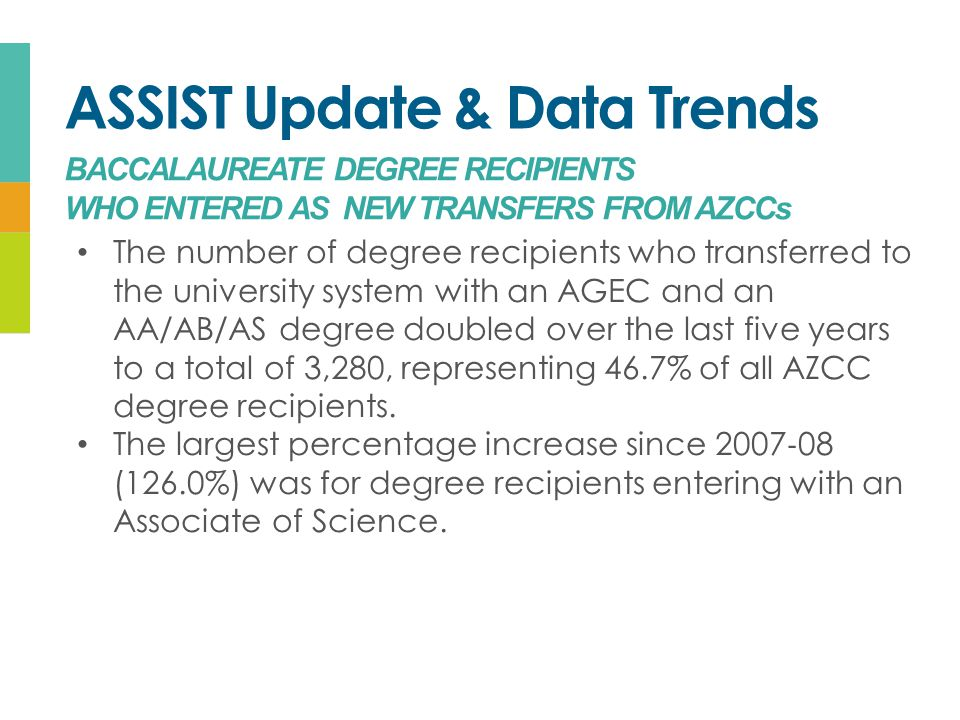 ASSIST Update & Data Trends BACCALAUREATE DEGREE RECIPIENTS WHO ENTERED AS NEW TRANSFERS FROM AZCCs The number of degree recipients who transferred to the university system with an AGEC and an AA/AB/AS degree doubled over the last five years to a total of 3,280, representing 46.7% of all AZCC degree recipients.