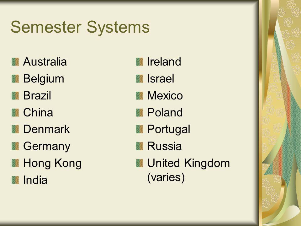 Semester Systems Australia Belgium Brazil China Denmark Germany Hong Kong India Ireland Israel Mexico Poland Portugal Russia United Kingdom (varies)