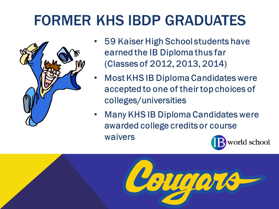 FORMER KHS IBDP GRADUATES 59 Kaiser High School students have earned the IB Diploma thus far (Classes of 2012, 2013, 2014) Most KHS IB Diploma Candida