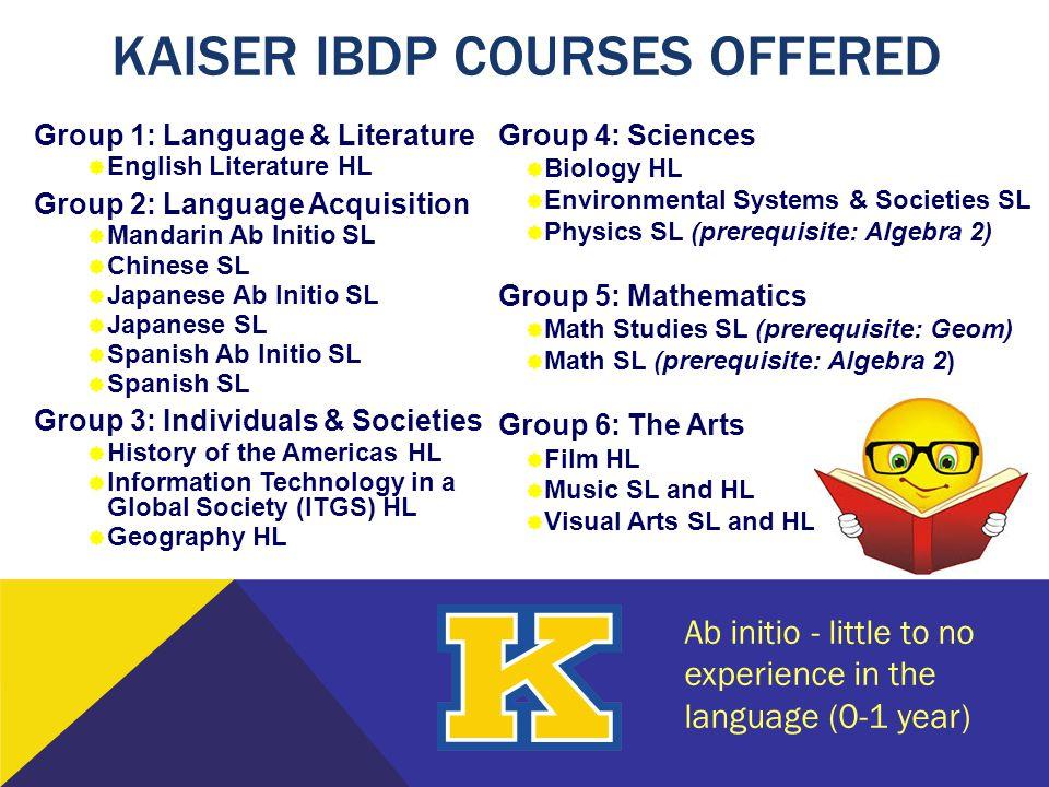 Group 1: Language & Literature  English Literature HL Group 2: Language Acquisition  Mandarin Ab Initio SL  Chinese SL  Japanese Ab Initio SL  Ja