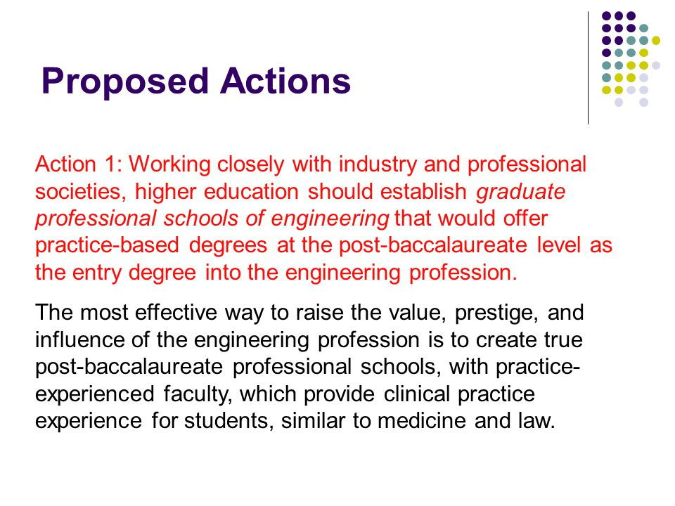 Proposed Actions Action 1: Working closely with industry and professional societies, higher education should establish graduate professional schools of engineering that would offer practice-based degrees at the post-baccalaureate level as the entry degree into the engineering profession.