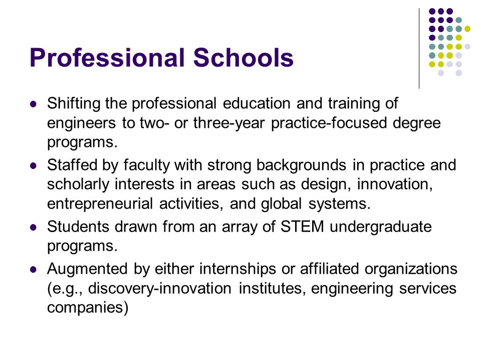 Professional Schools Shifting the professional education and training of engineers to two- or three-year practice-focused degree programs.