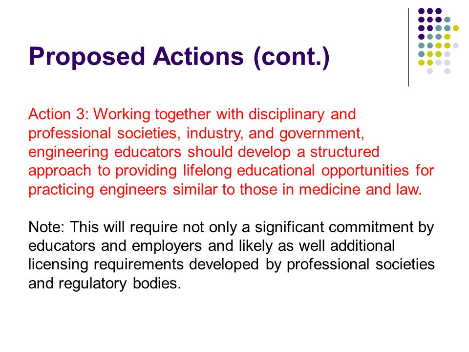 Proposed Actions (cont.) Action 3: Working together with disciplinary and professional societies, industry, and government, engineering educators shou